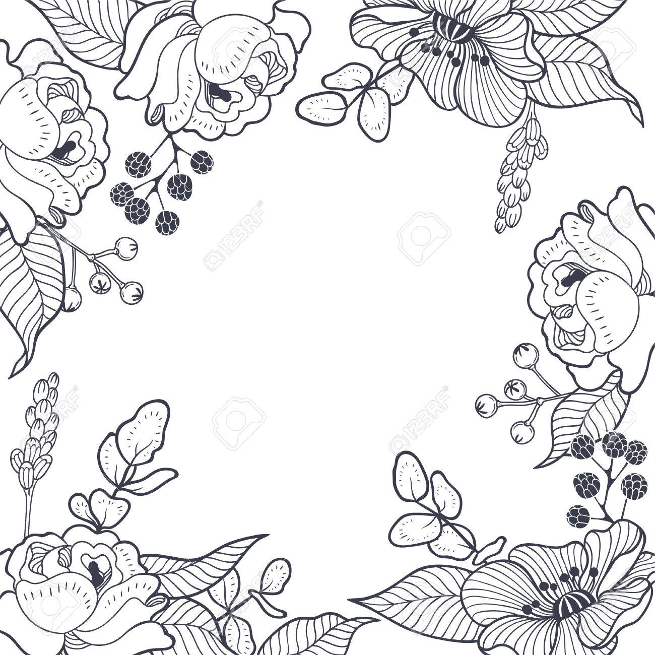 Vintage Floral Graphic Background Vector Hand Drawn Botanical