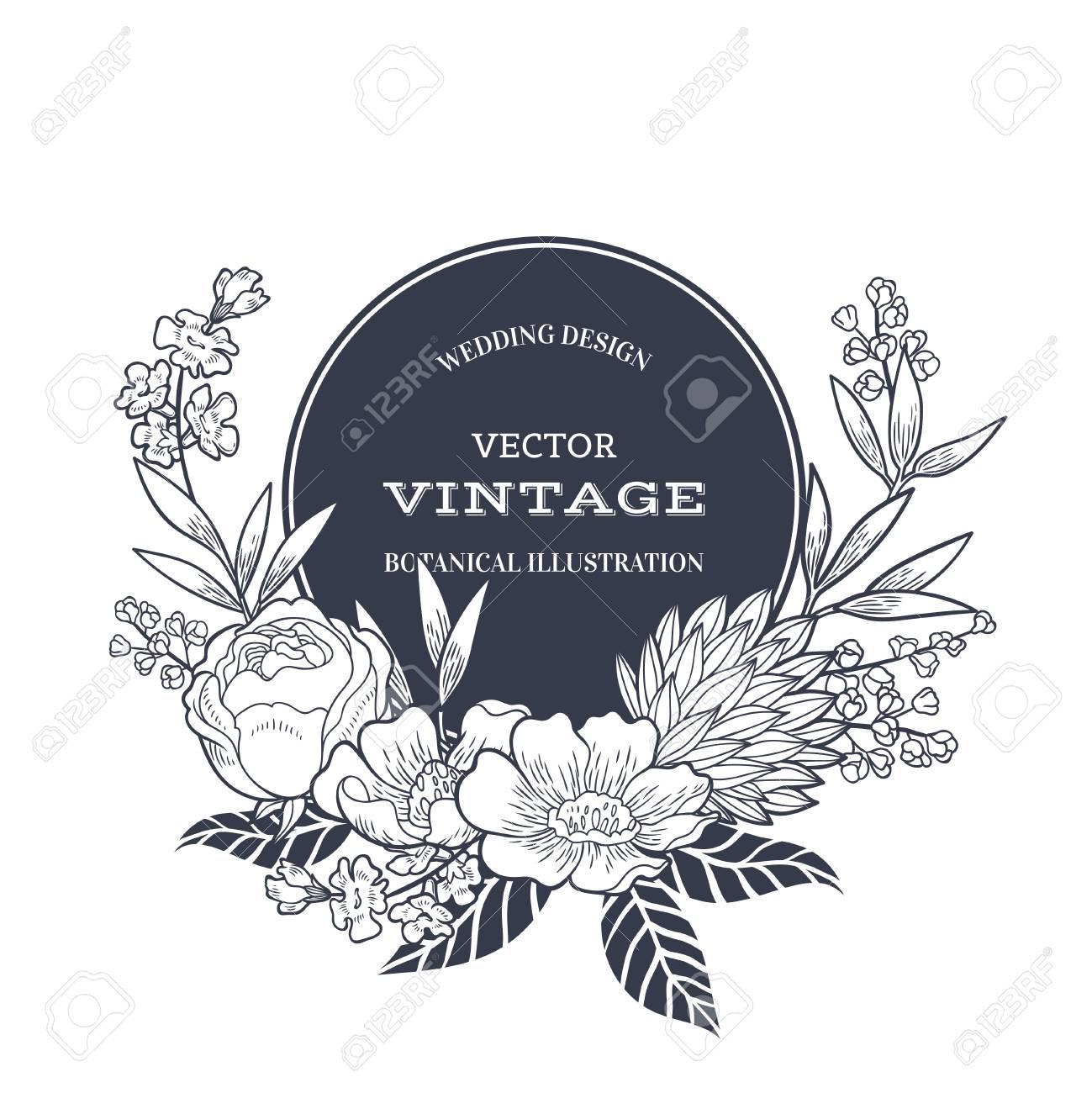 Vintage Floral Hintergrund Fur Hochzeitseinladung Oder Etikett