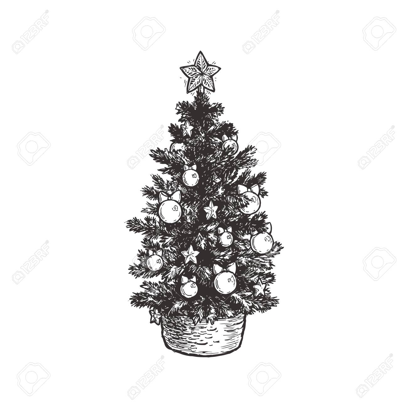 Vector Vintage Drawing With Christmas Tree In Basket Hand Drawn Royalty Free Cliparts Vectors And Stock Illustration Image 135442718