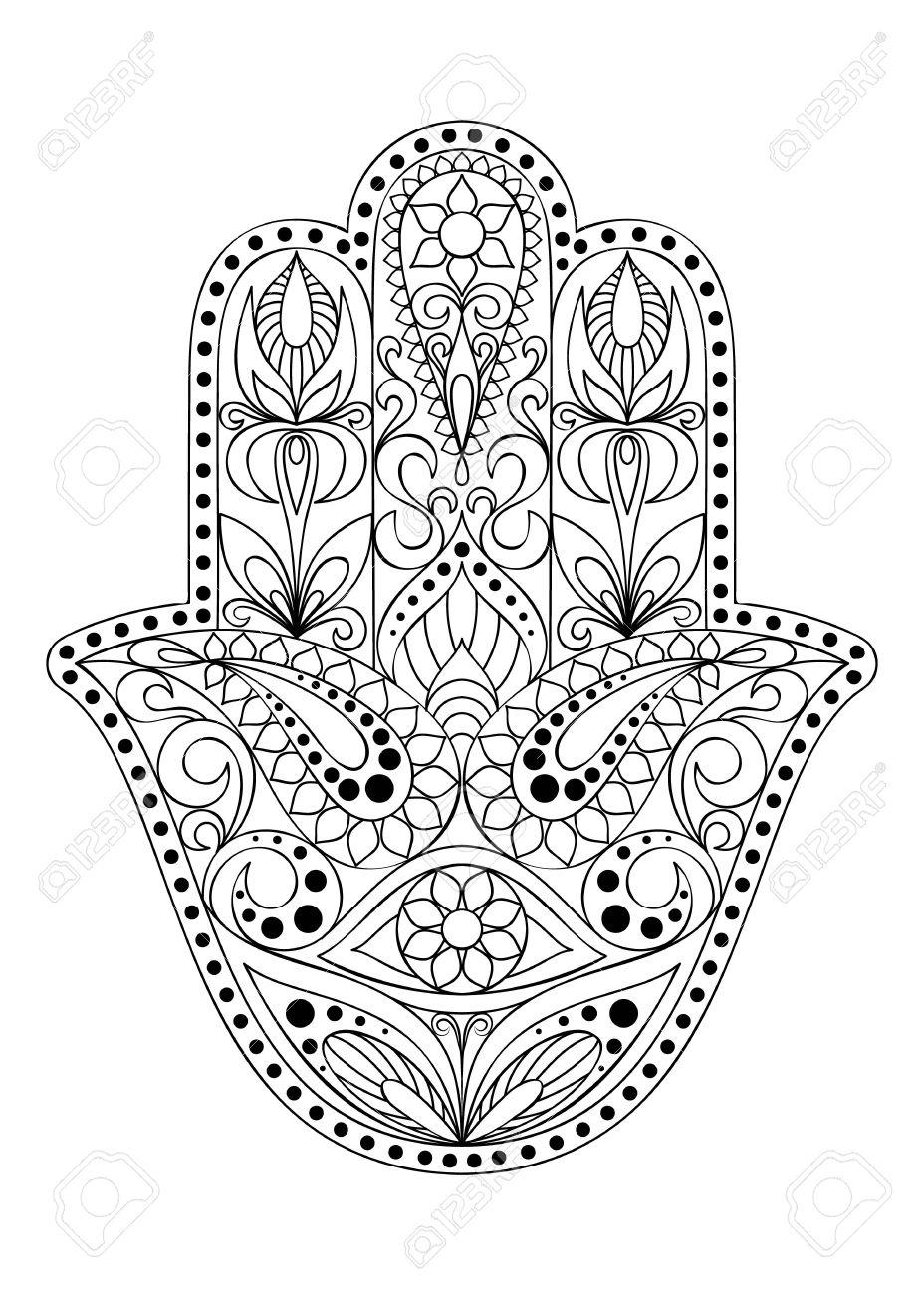Hand drawn hamsa symbol hand of fatima ethnic amulet common hand drawn hamsa symbol hand of fatima ethnic amulet common in indian arabic biocorpaavc Choice Image