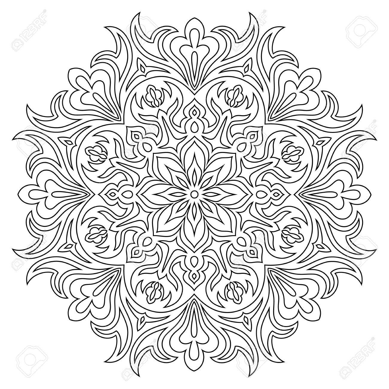 Coloriage Anti Stress Magazine.Ethnic Mandala Symbol For Coloring Book Anti Stress Therapy