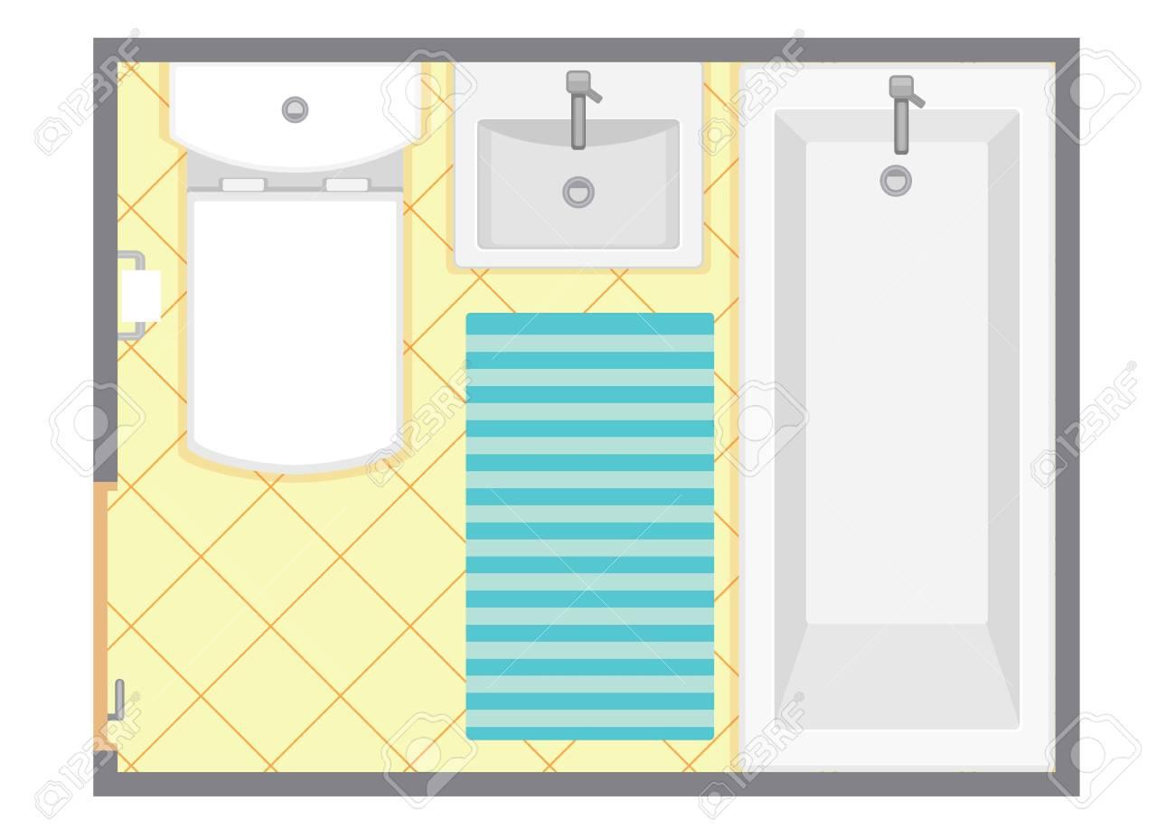 Interior Del Cuarto De Baño Vista Superior Ilustración Vectorial ...