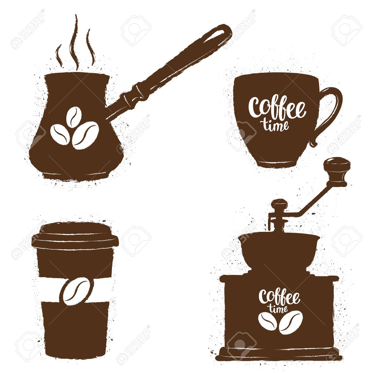 vintage coffee objects set silhouettes of coffee cups grinder rh 123rf com  vintage coffee cup clip art