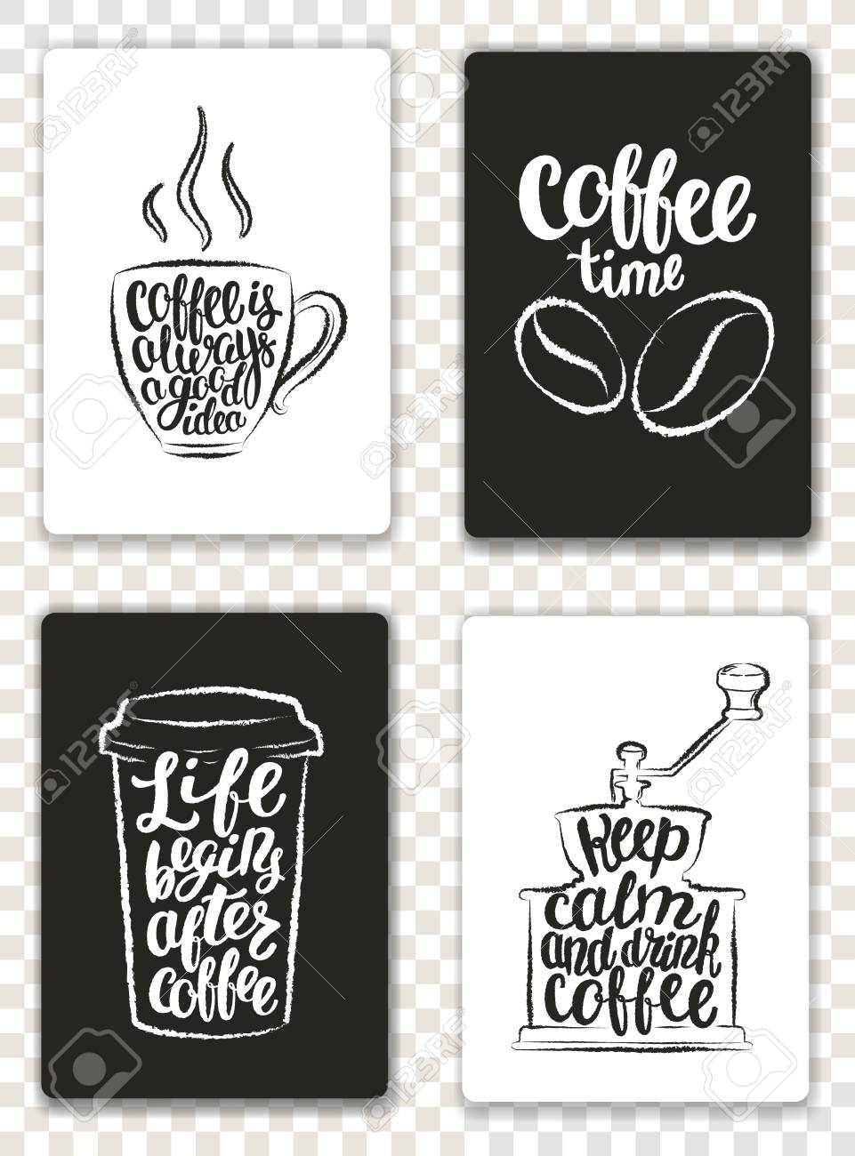 Set of modern cards with coffee elements and lettering trendy set of modern cards with coffee elements and lettering trendy hipster templates for flyers stopboris Image collections