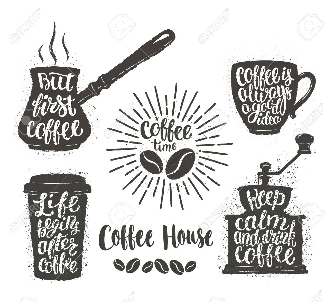 Coffee lettering in cup, grinder, pot shapes  Modern calligraphy