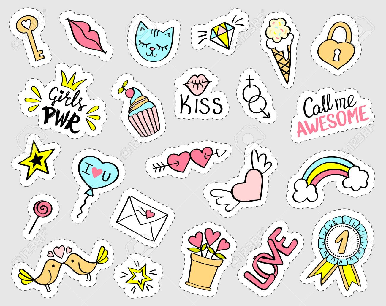 Set of cute fashion girly stickers stock vector 91659686