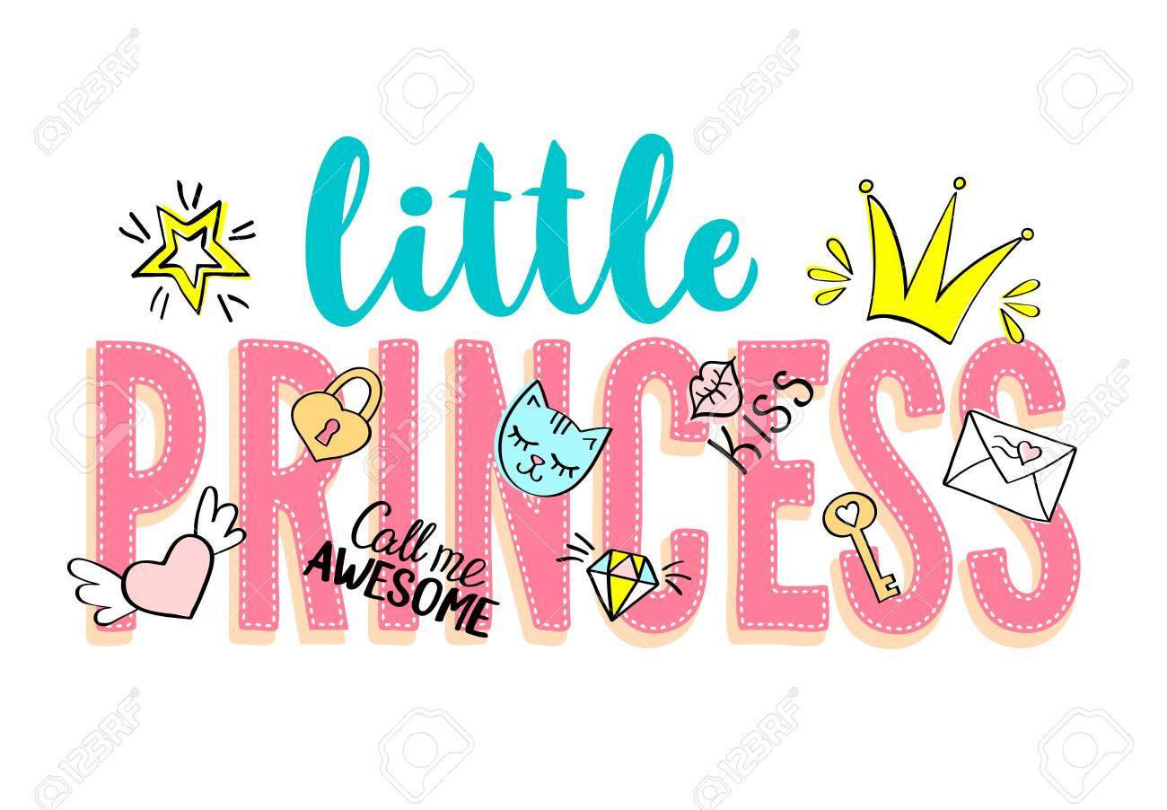 Little Princess Lettering Com Doodles Femininos E Mão Desenhadas Frases Para Design De Cartão Impressão De T Shirt Da Menina Cartazes Mão Desenhada