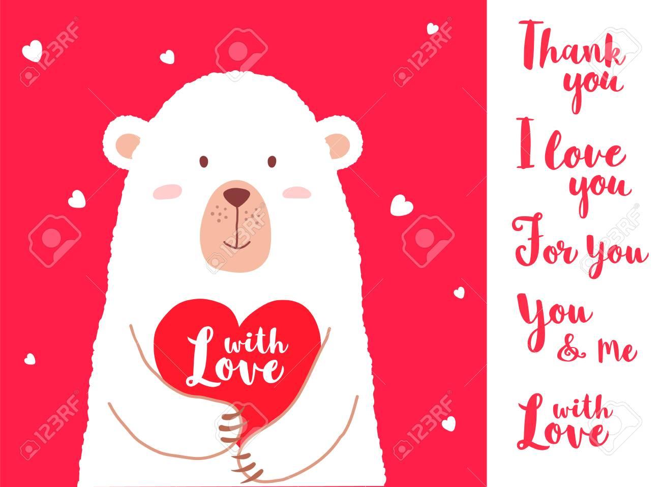 vector illustration of cute cartoon bear holding heart and hand
