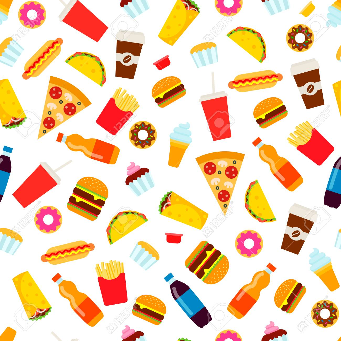 Colorful Fast Food Seamless Pattern Junk Food Vector Repeating