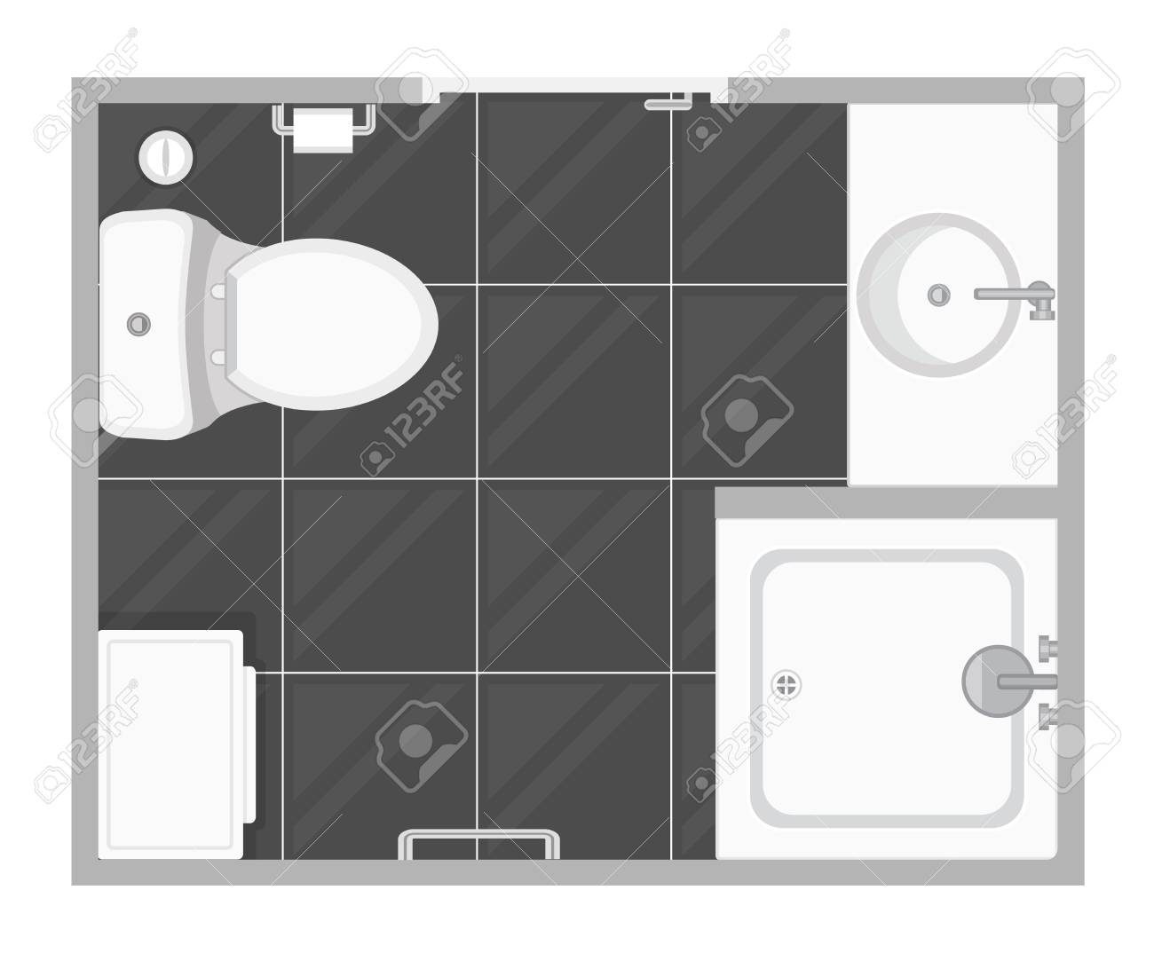 Bathroom Interior Top View Vector Illustration Floor Plan Of