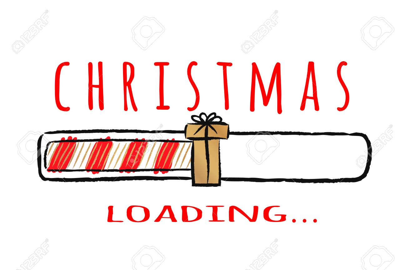 Progress bar with inscription - Christmas loading.in sketchy style. Vector christmas illustration for t-shirt design, poster, greeting or invitation card. - 108958248