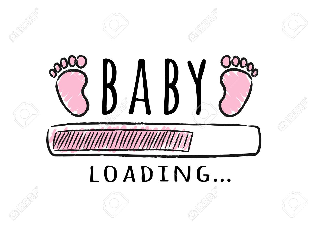 Progress bar with inscription - Baby loading and kid footprints in sketchy style. Vector illustration for t-shirt design, poster, card, baby shower decoration. - 115875978