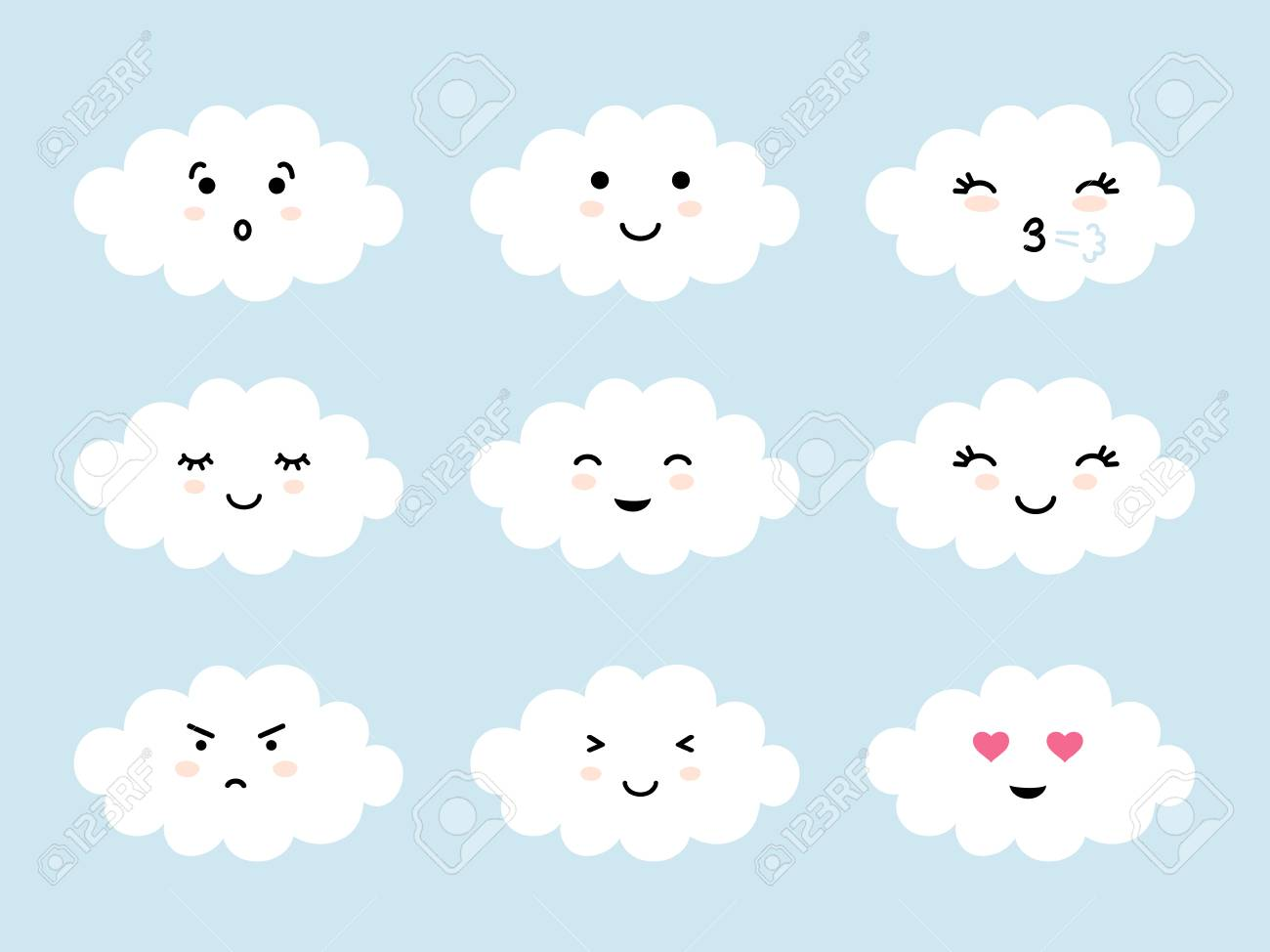 Set of cloud shaped emoji with different mood  Kawaii cute clouds