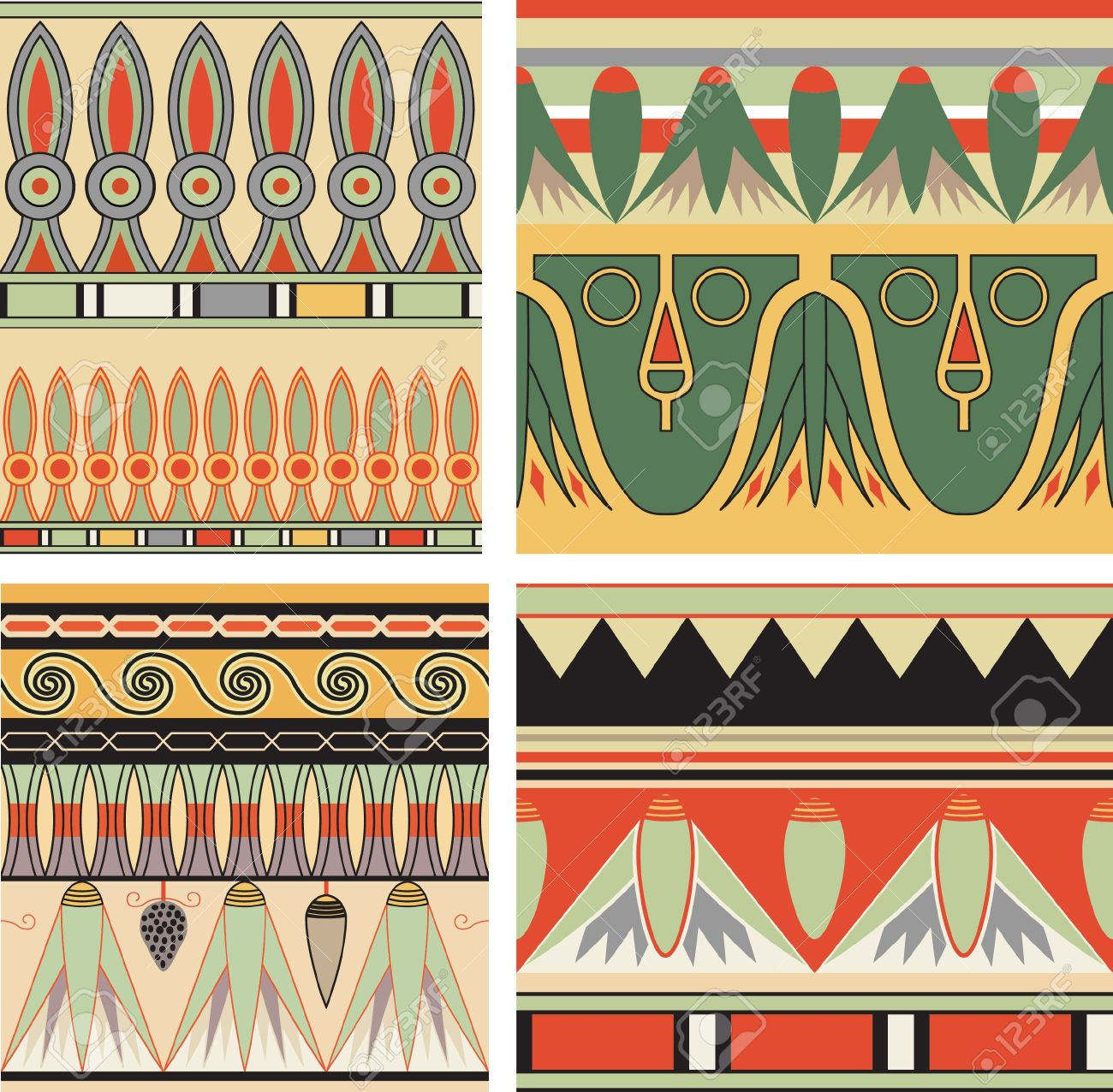 Set of ancient egyptian ornament, vector, seamless pattern Stock Vector - 11962852