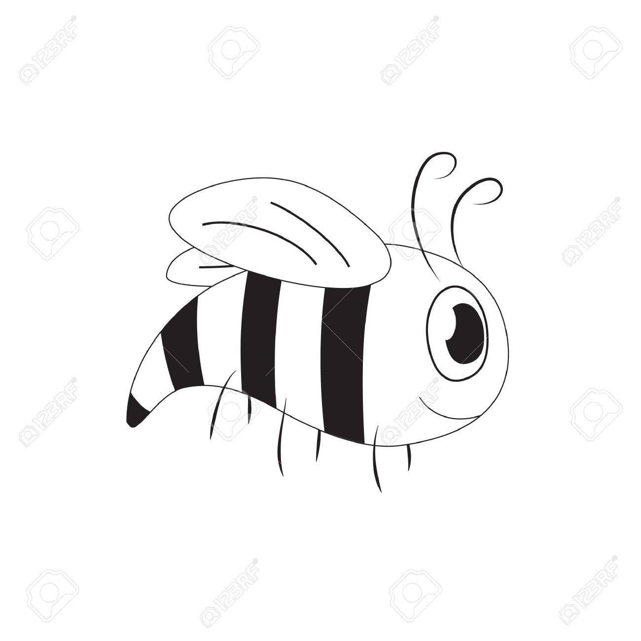 Cute Cartoon Bee Yellow Jacket Black And White Royalty Free
