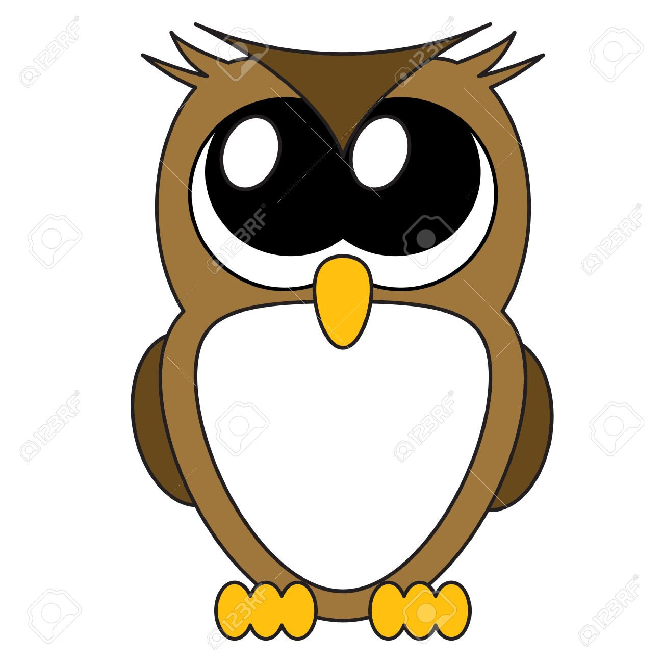 Cute Cartoon Owls With Big Eyes