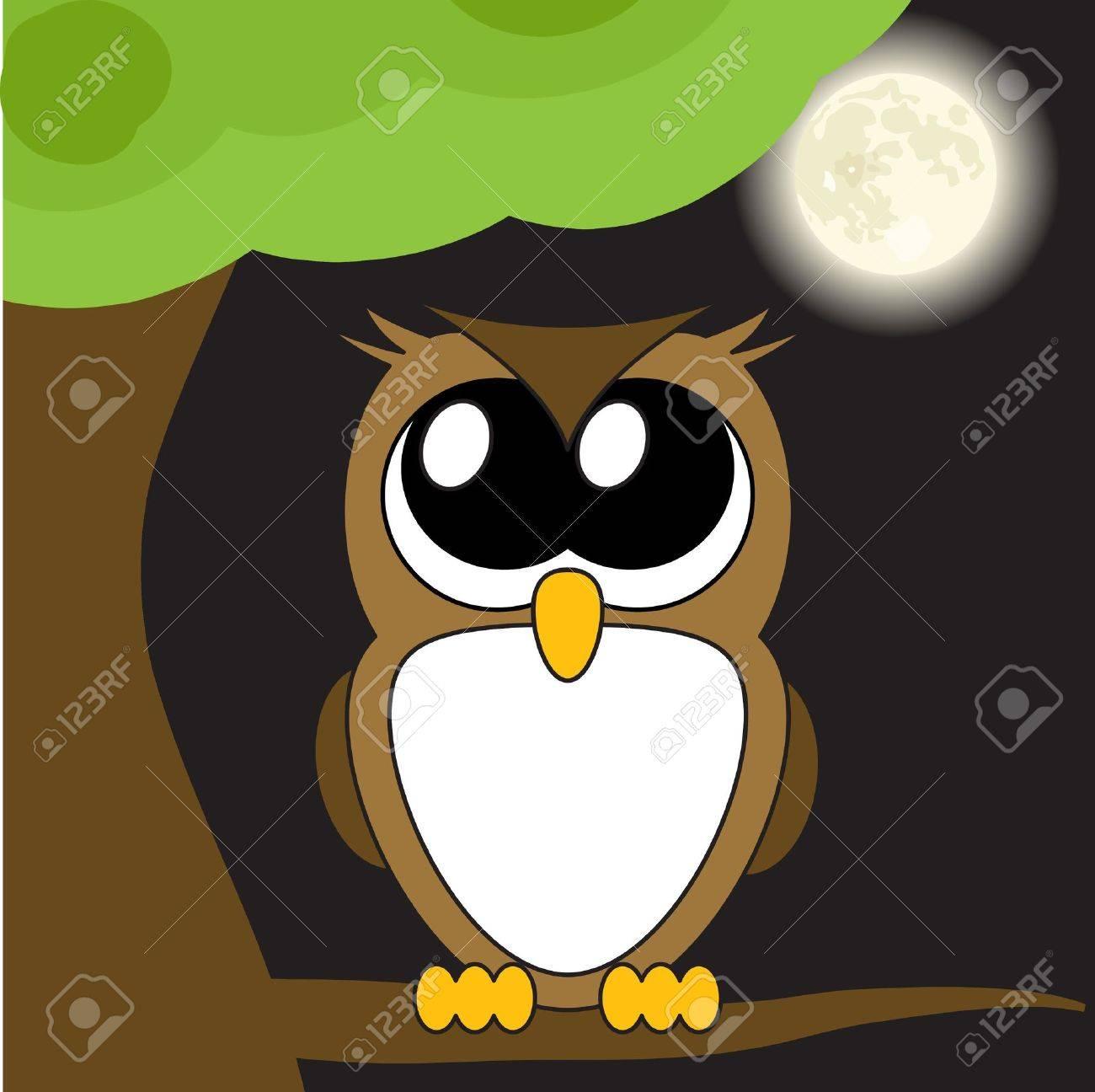 Very cute cartoon owl with big eyes, - 12233002