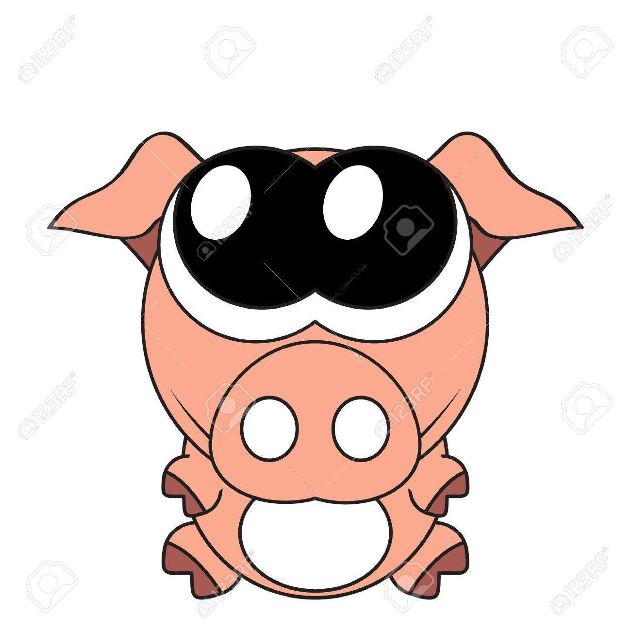 Very cute piglet with big eyes, Stock Vector - 12233001