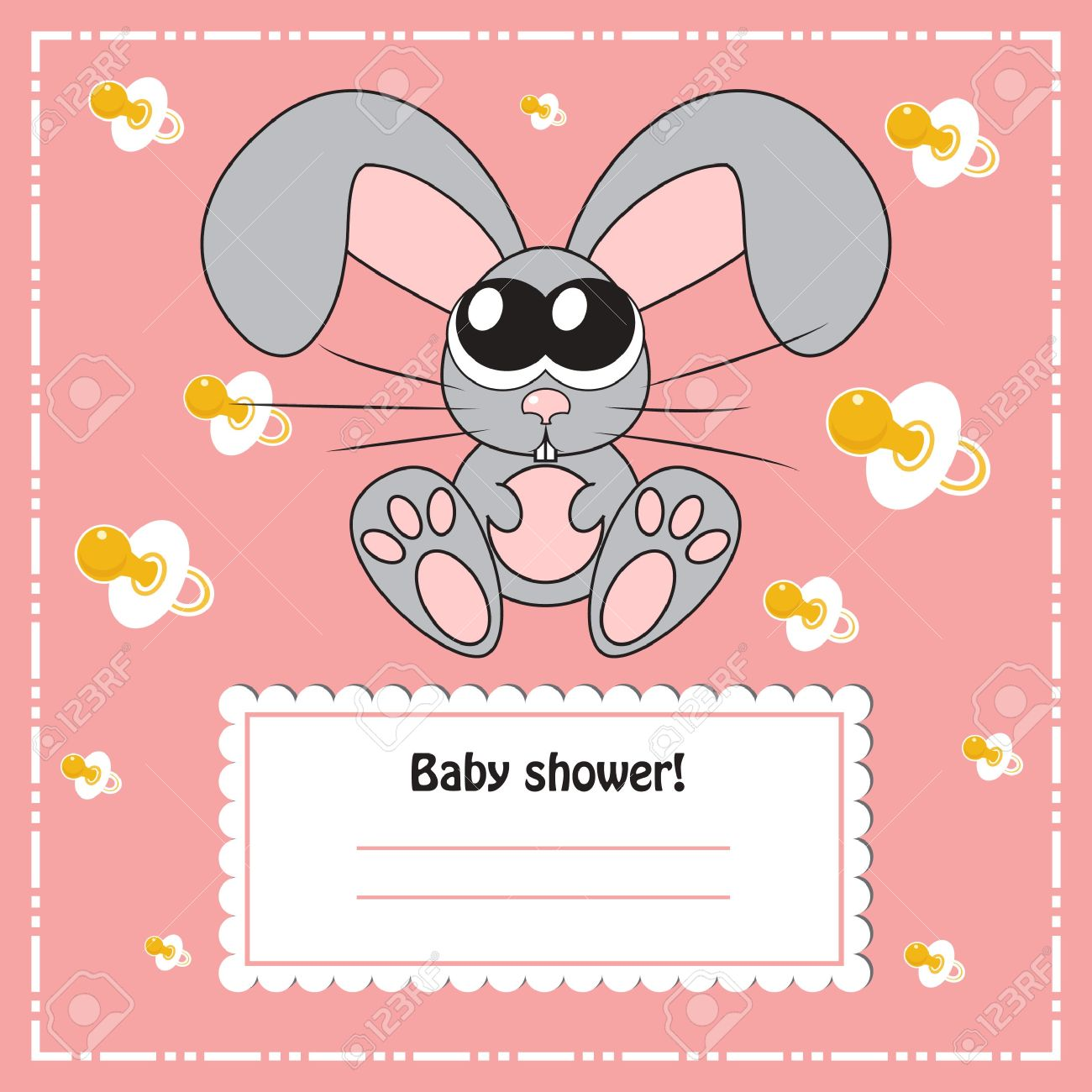 Baby Shower Invitation Card With Rabbit, Vector Royalty Free ...