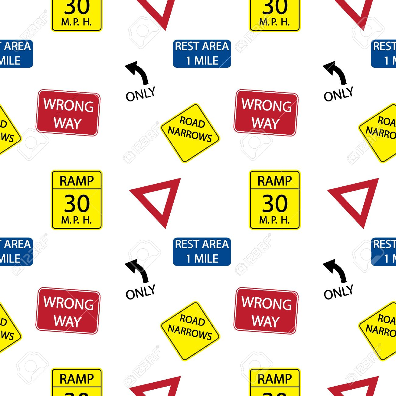 background with  road signs, seamless pattern Stock Vector - 13773612