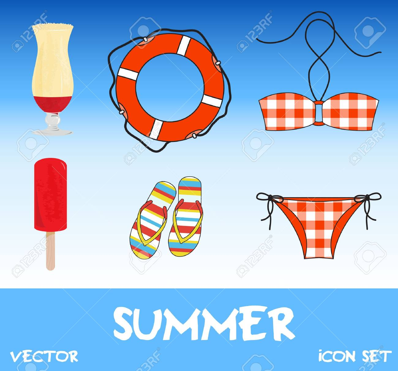 Set of pretty colorful summer icons Stock Vector - 14774817