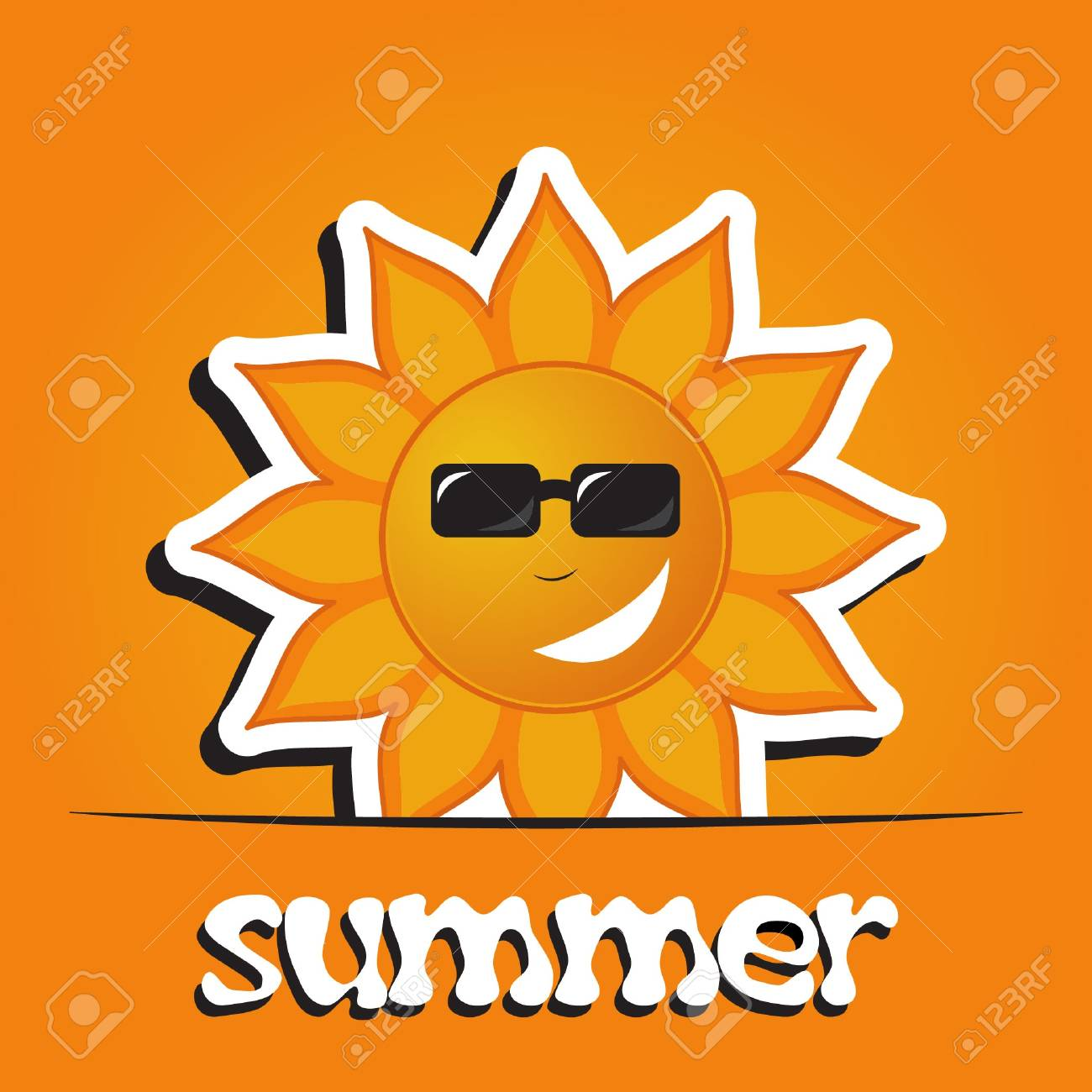 Pretty summer background with sun, vector Stock Vector - 15604299