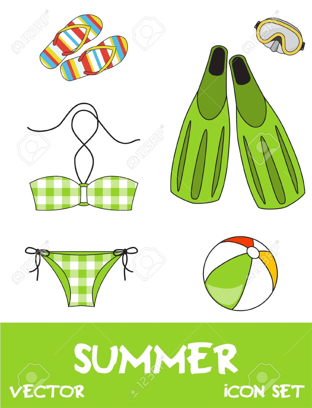 Set of pretty colorful summer icons, vector Stock Vector - 15604274