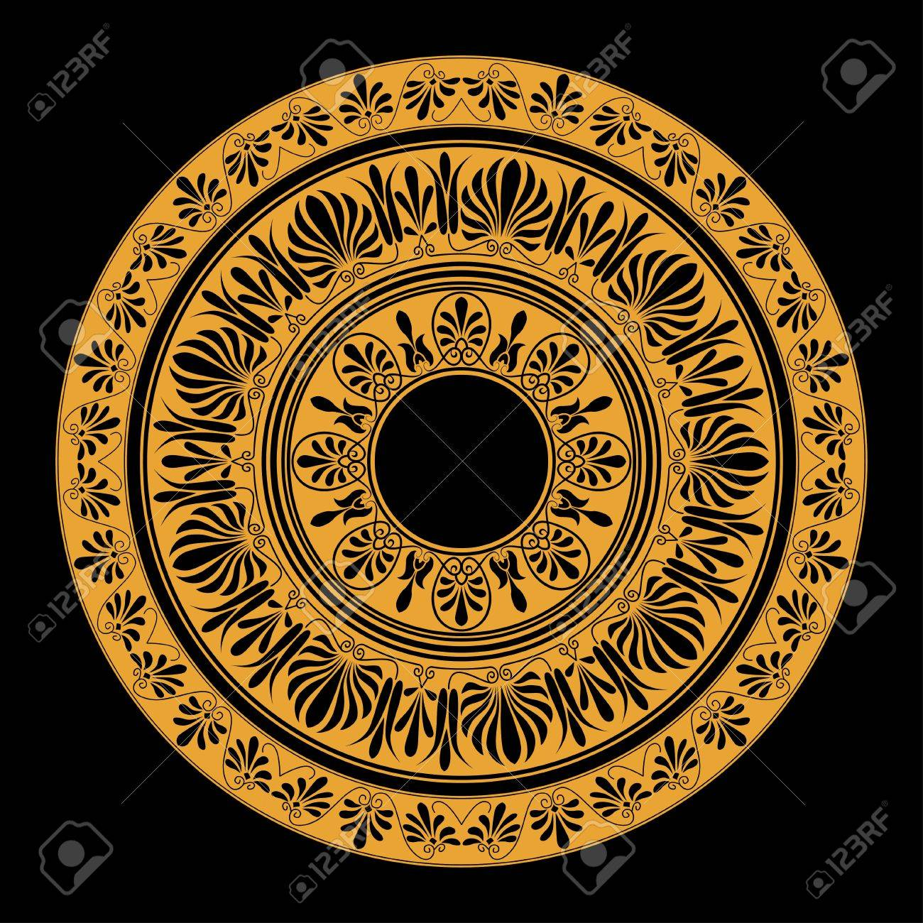 Circle ornament round frame rosette of ancient elements greek round frame rosette of ancient elements greek national antique round pattern jeuxipadfo Gallery