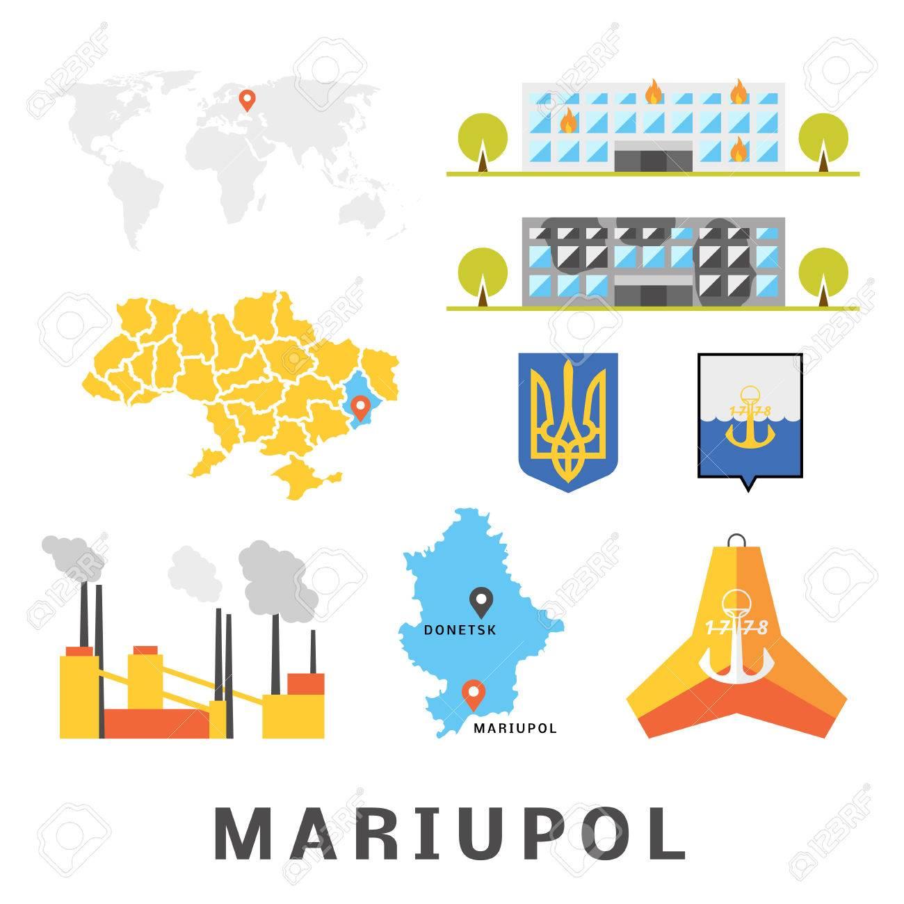 Mariupol Concept Set Of Objects Describing Mariupol Ukraine
