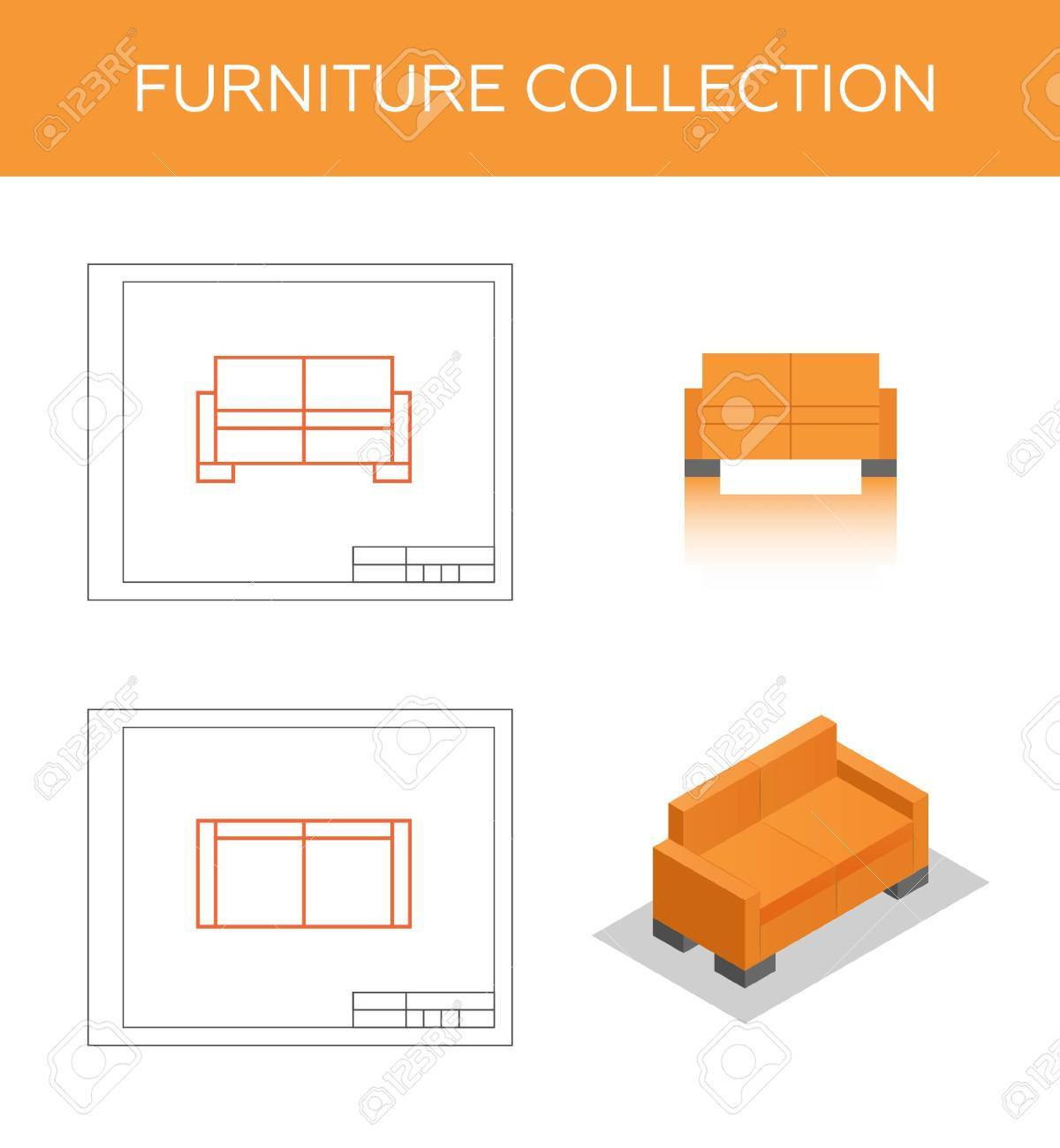 Isometric Icon Of A Sofa Vector Two Blueprints With Front View