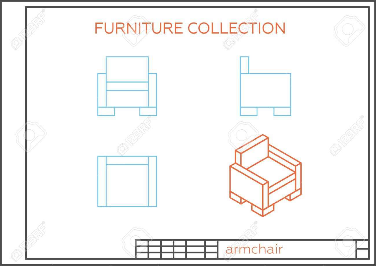 Blueprint of an armchair vector front view top view and side blueprint of an armchair vector front view top view and side view malvernweather Choice Image