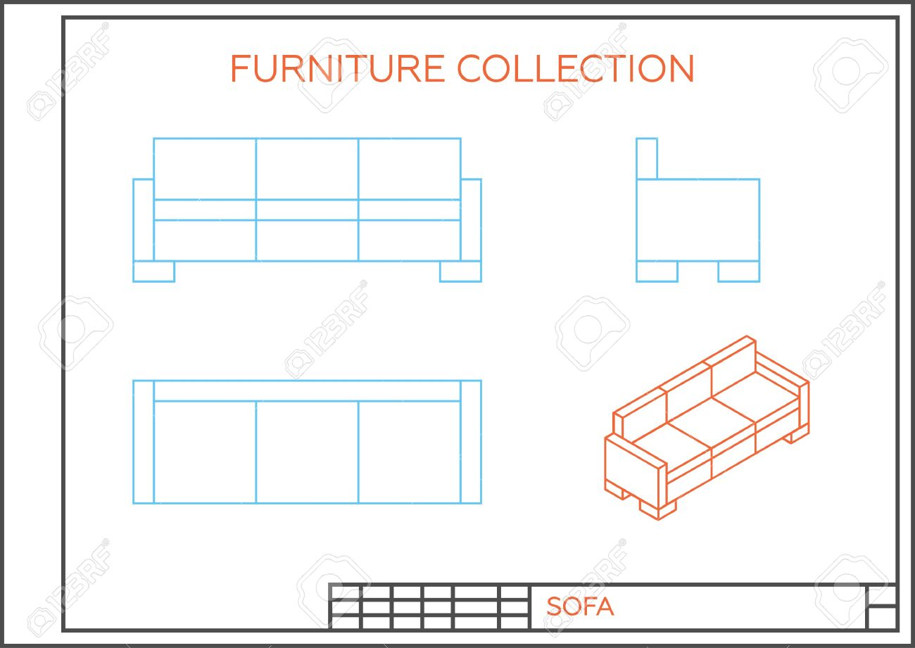 Blueprint Of Sofa Vector Front View Top View And Side View