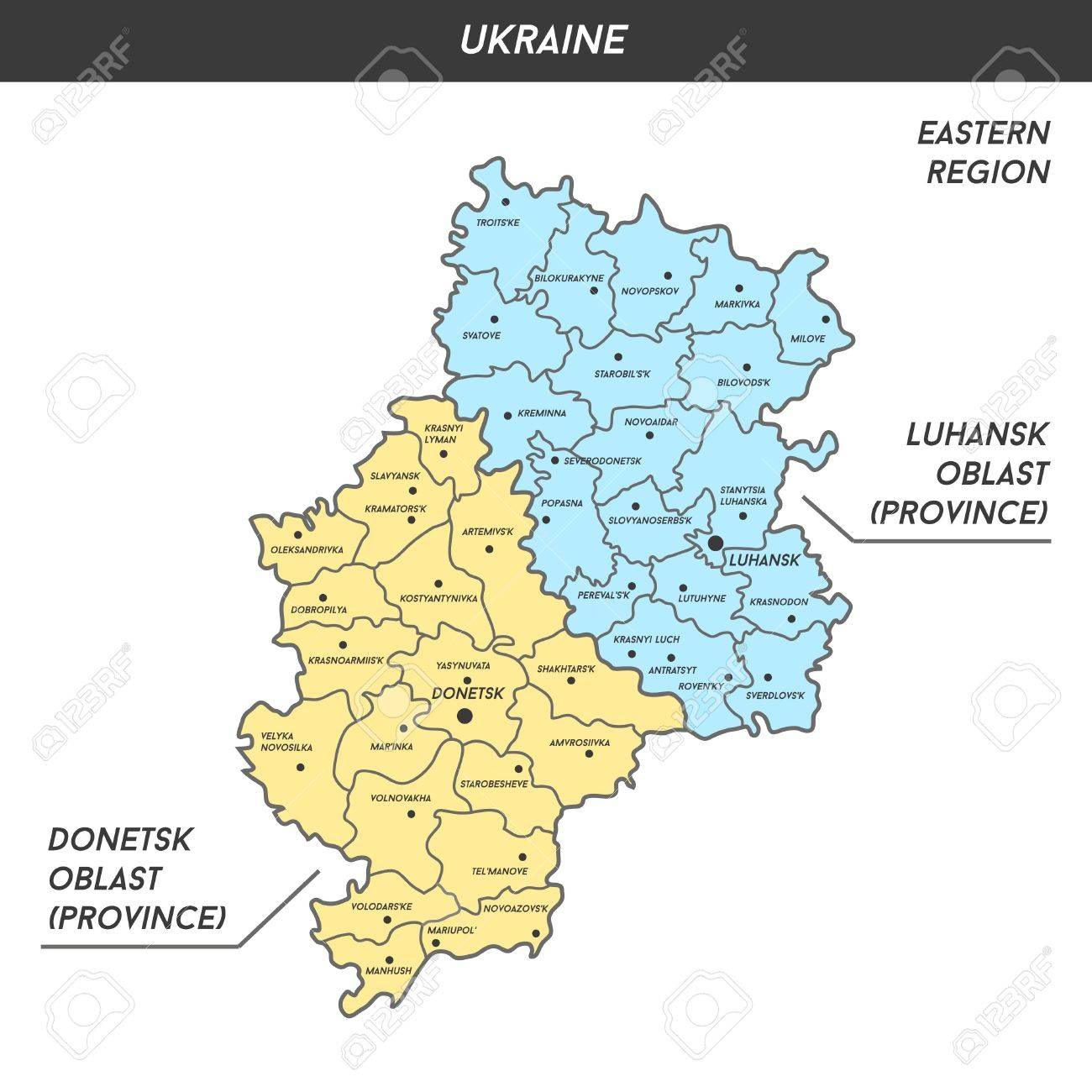 Map Of Donetsk And Luhansk Oblast Donbas With Major Cities