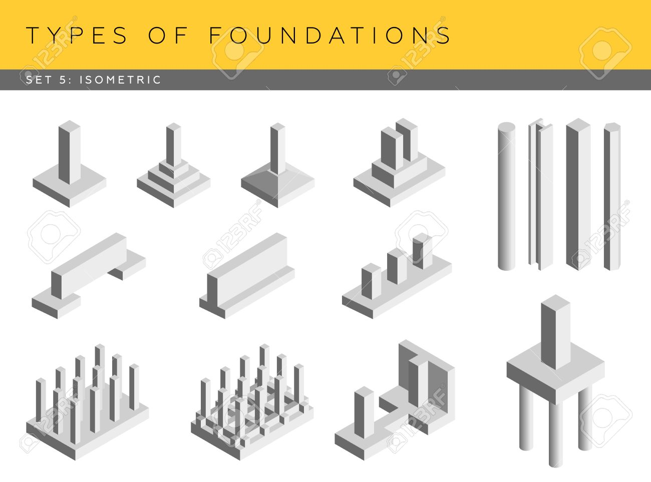 Types of foundations set of vector architectural blueprints types of foundations set of vector architectural blueprints isometric view stock vector 46024472 ccuart Image collections