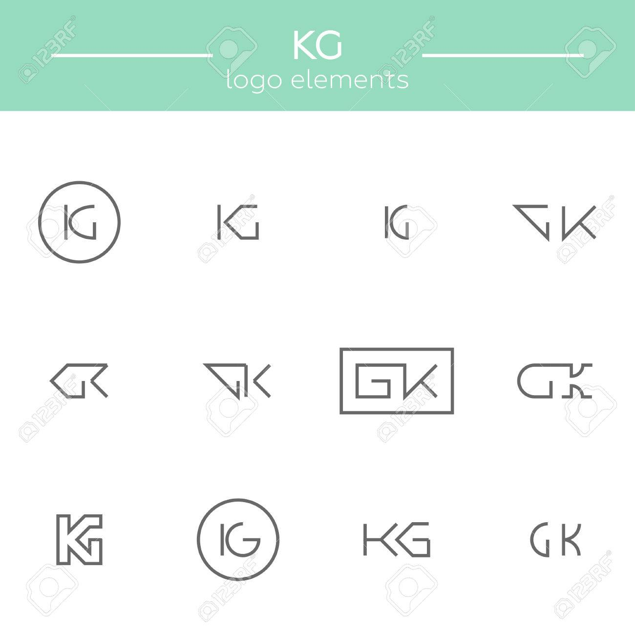 stock photo vector monogram of k and g letters template for logo of an architector or other occupation