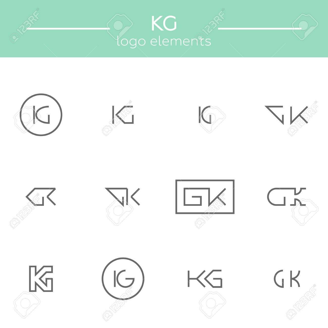 Vektor-Monogramm K Und G Buchstaben. Vorlage Für Logo Eines ...