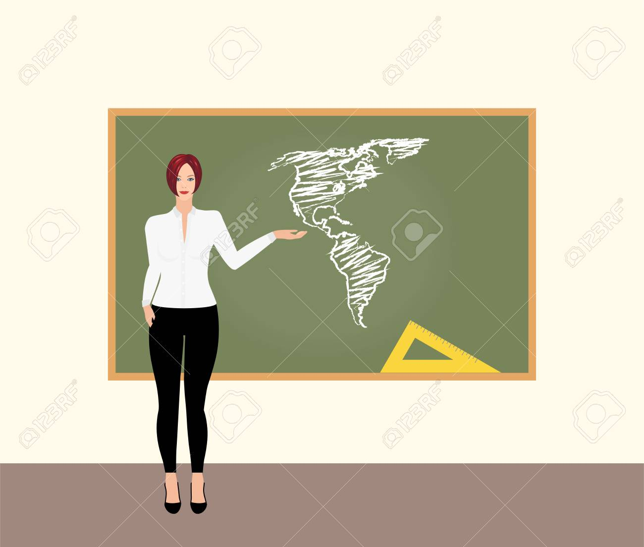 Young Female Teacher Showing A Map Of Usa On A Chalkboard Vector