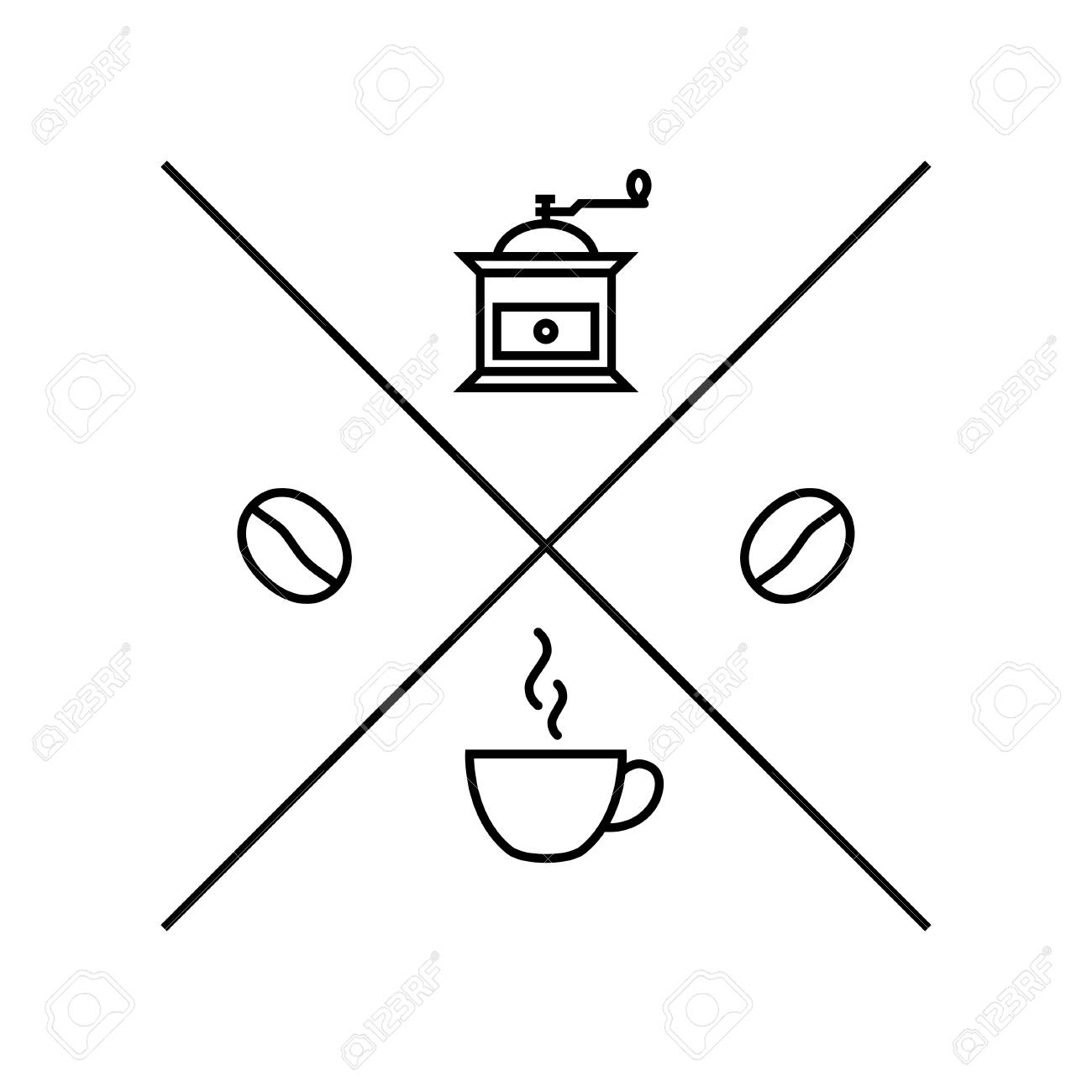 Hipster logo template for coffee shop in linear style  Simple