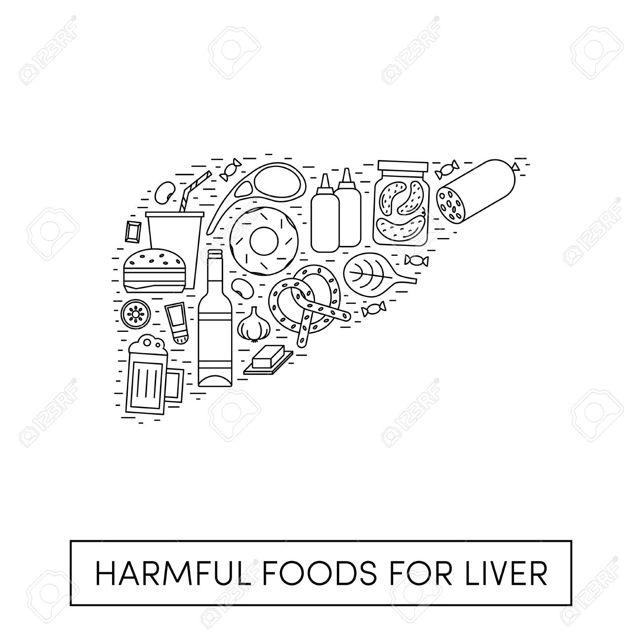 Vector cartoon illustration of harmul foods for a liver. Outline products in the shape of a human liver - 115007851