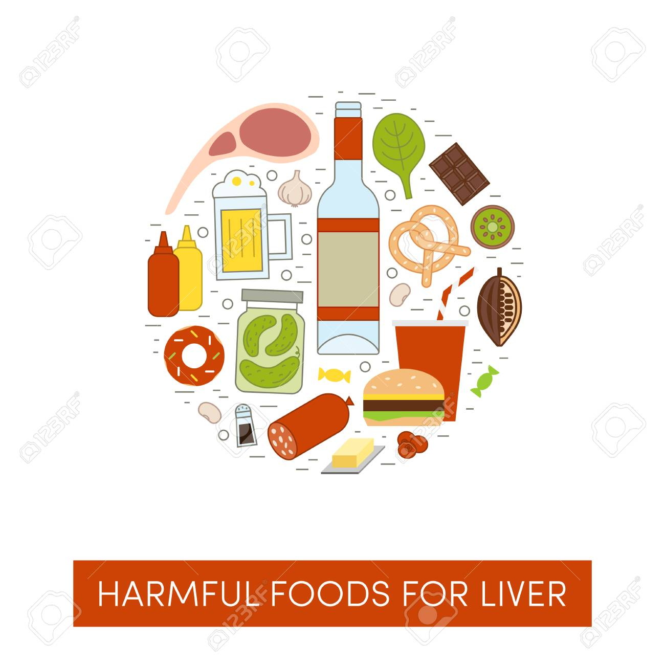 Vector cartoon illustration of harmul foods for a liver. Bad products in the shape of a circle - 115007852