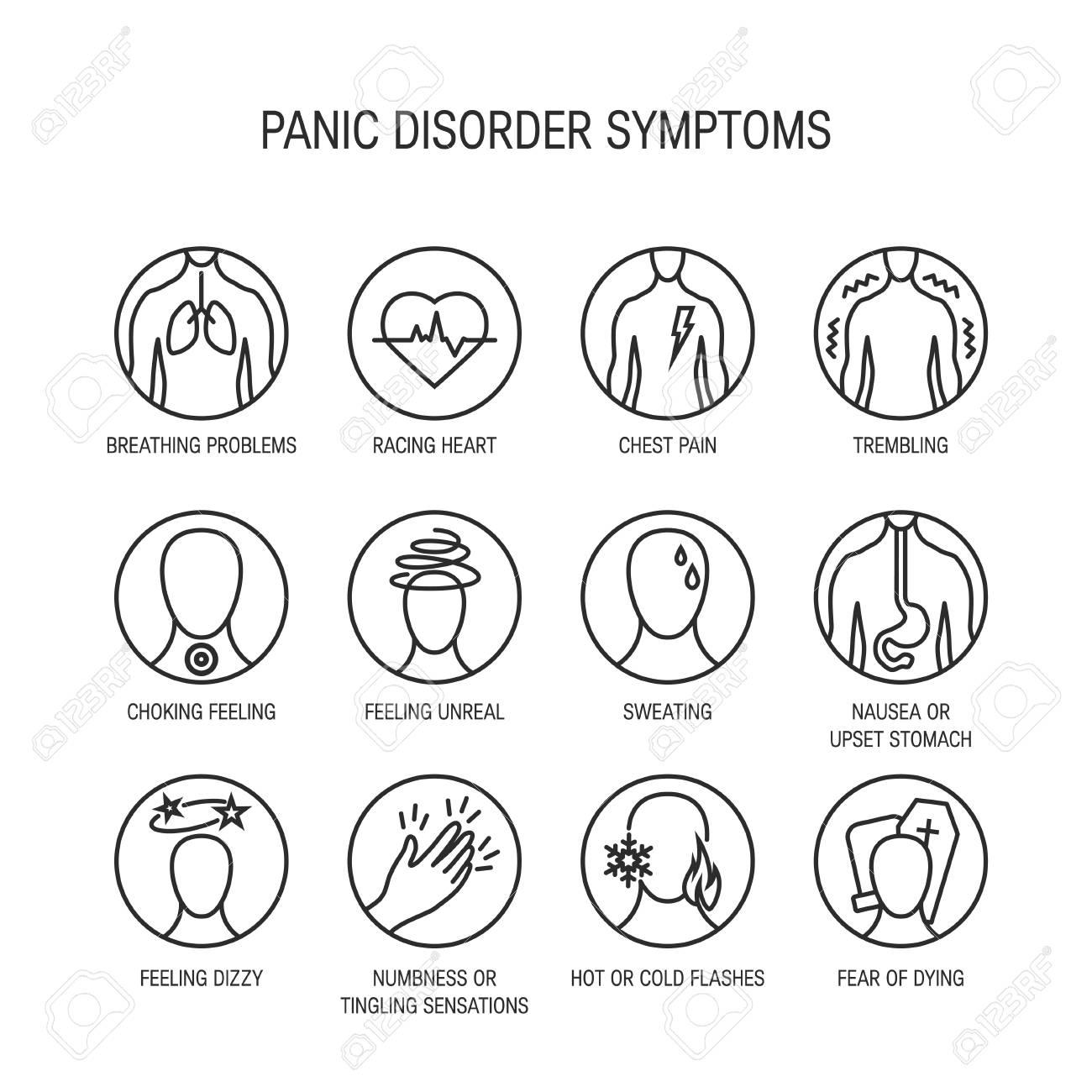 Panic attack symptoms, line icons, vector illustration. - 110232720