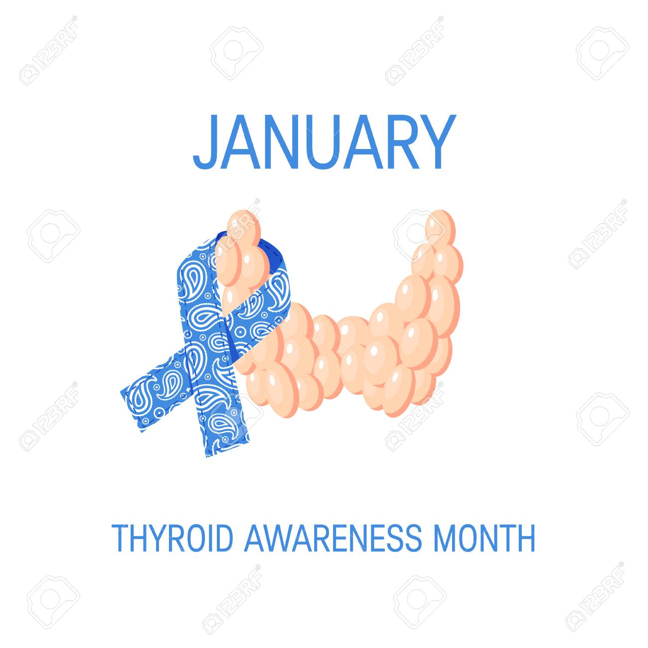 Thyroid Awareness Month Concept Square Design With Blue Paisley