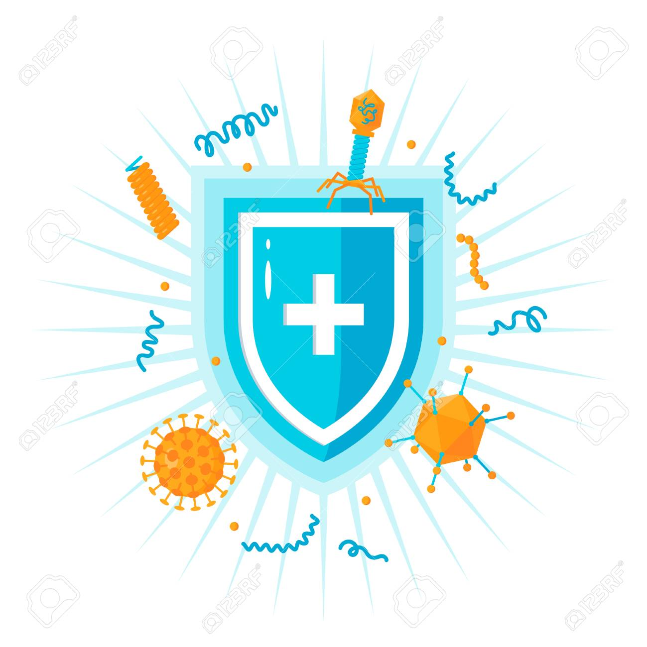 Immune system concept. Medical shield surrounded by viruses and bacterium - 115321426
