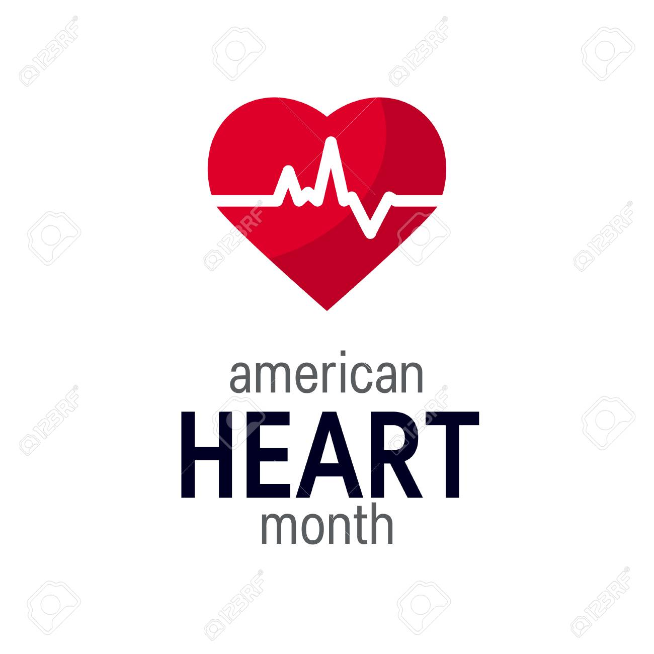 National heart month concept. Simple design in flat style, vector - 117228234
