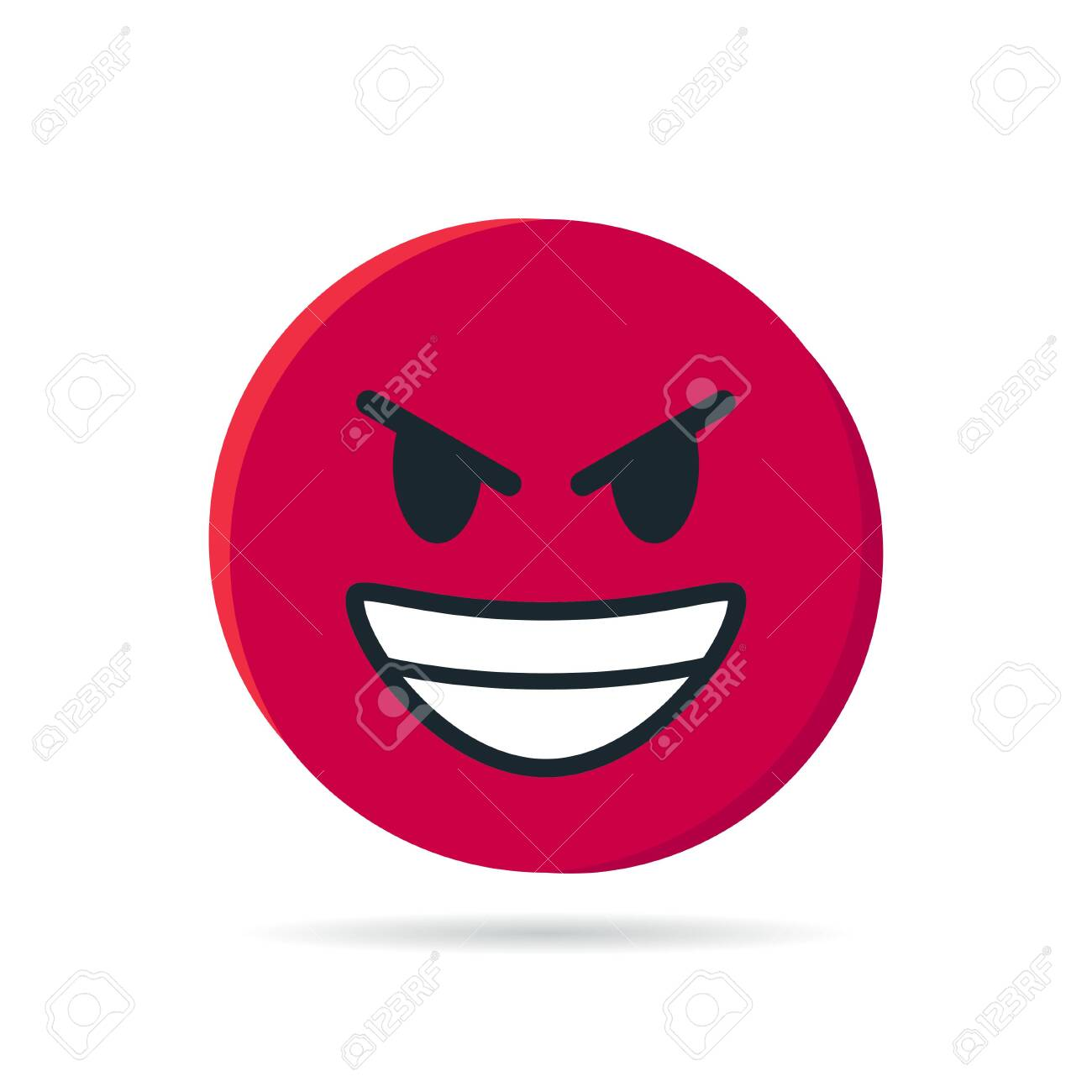 Round red emoji  Simple vector illustration of an angry face