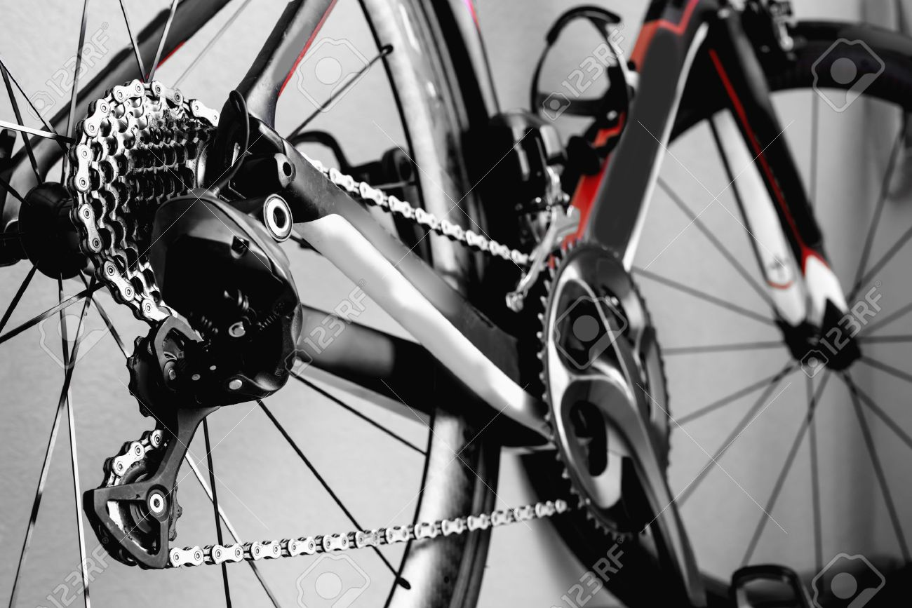 Parts Bicycle Wheel, Chain, Cycling Road Bike Frame Stock Photo ...