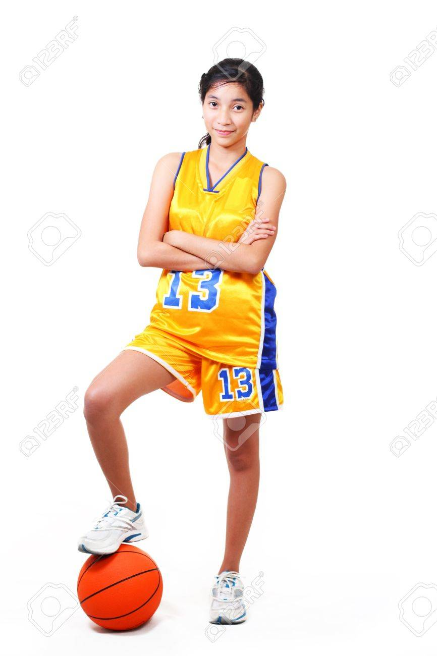 full body picture of a beautiful basketball player standing over