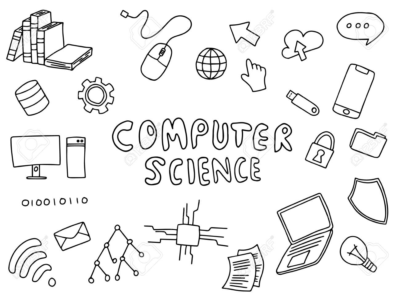 computer science engineering education doodle art with black..