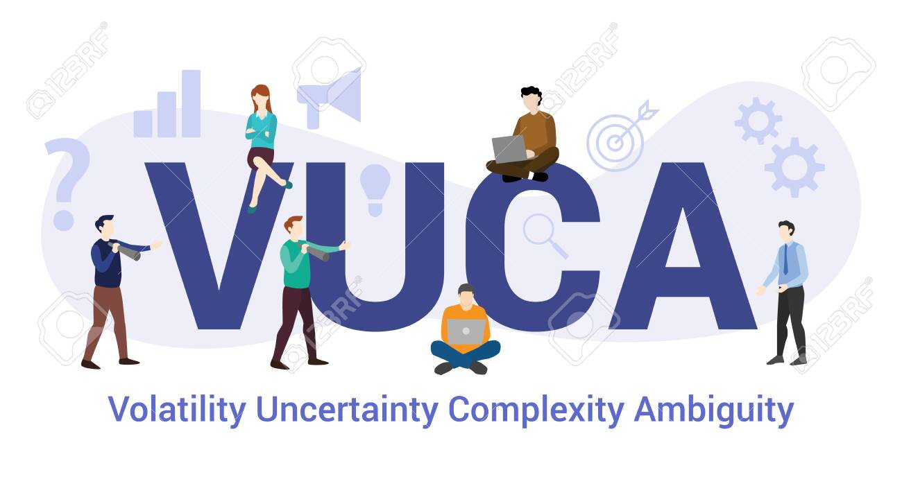 vuca volatility uncertainty complexity ambiguity concept with big word or text and team people with modern flat style - vector illustration - 130655287