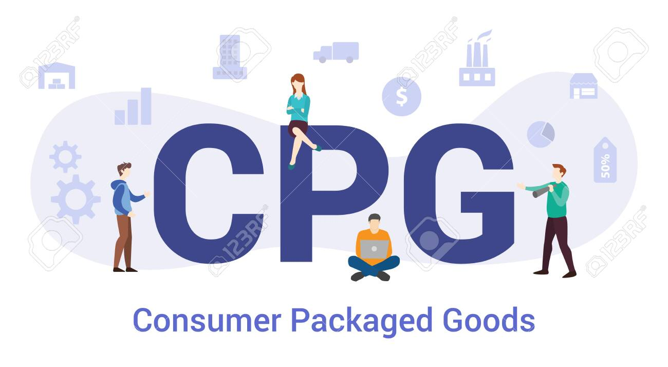 cpg consumer packaged goods concept with big word or text and team people with modern flat style - vector illustration - 131932630